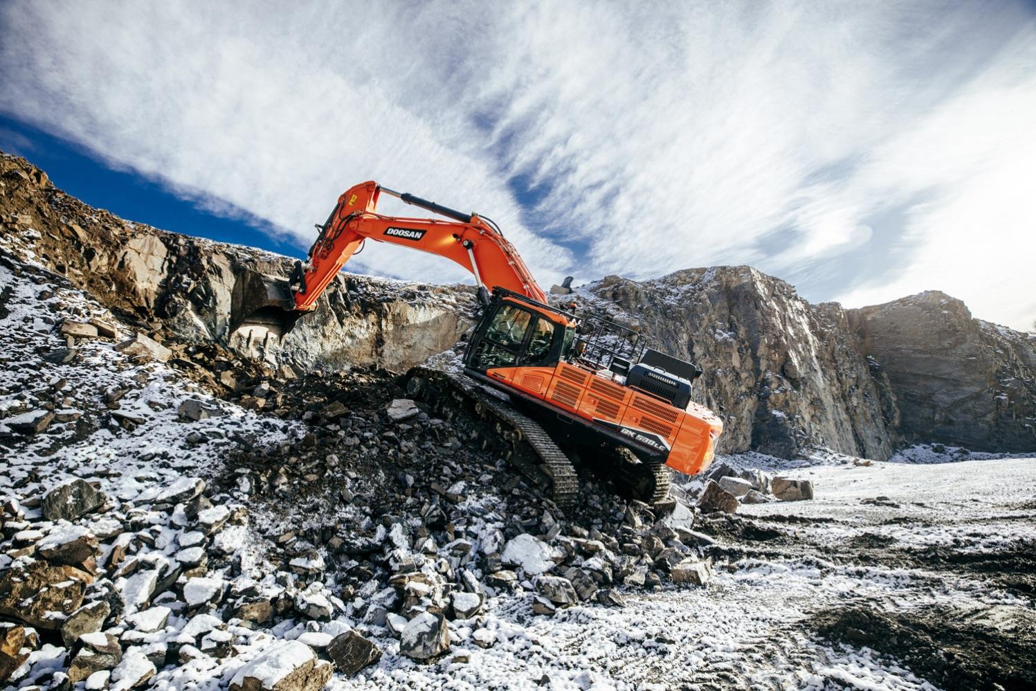 Doosan DX530 crawler excavator in a quarry